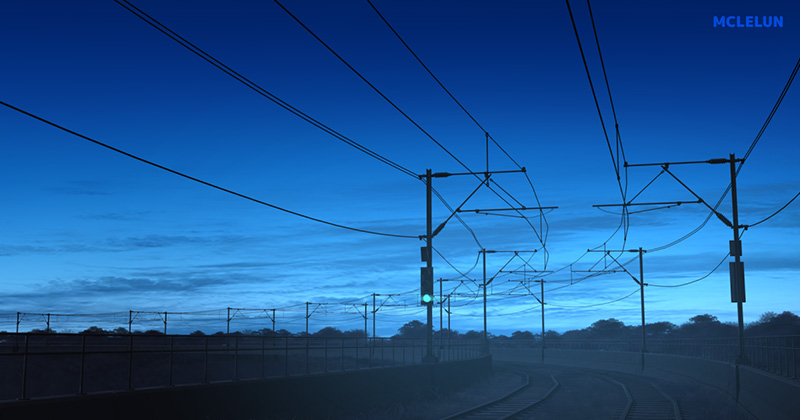 blue evening anime landscape animation