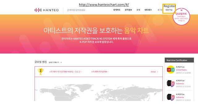 HANTEO Chart numbers are free for International fans