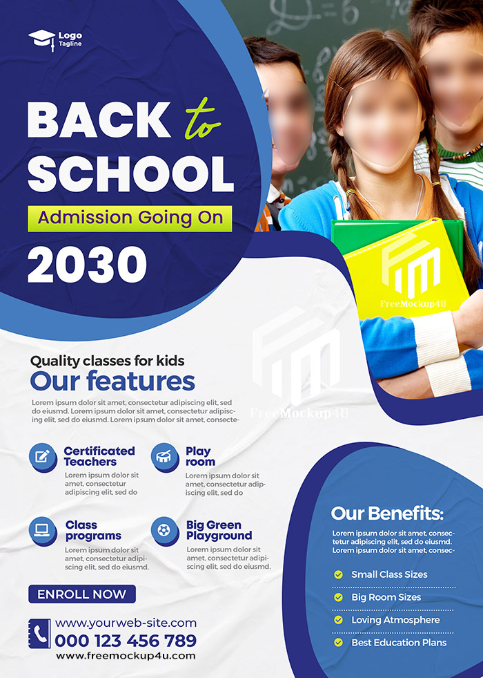 Back To School Admission Flyer Or Poster Template Design
