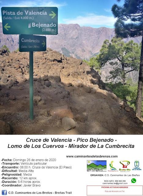 Caminantes de Las Breñas, Domingo 26 de Enero: Cruce de Valencia - Pico Bejenado - Lomo de Los Cuervos - Mirador de La Cumbrecita