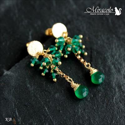 Miracolo, kolczyki z zielonymi onyksami, kwarc zielony, green onyx earrings, wire wrapping