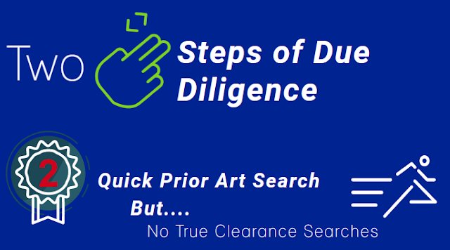 A quick prior art search might be a sufficient due diligence compliance for patenting your invention but don't go for a true clearance search.