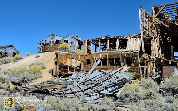 Buildings at Chemung Mine in various shapes of disrepair