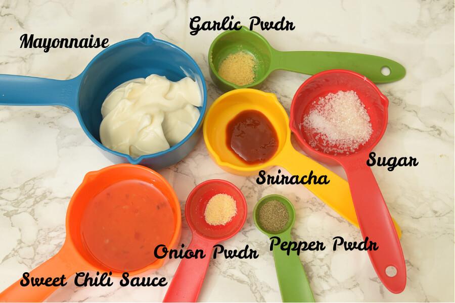 ingredients to make bangbang shrimp sauce