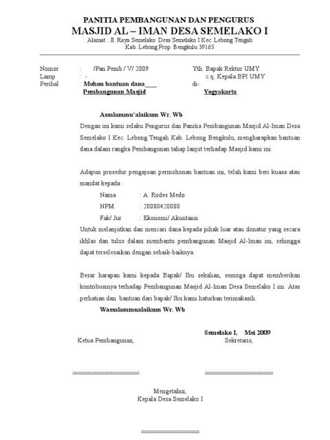 contoh surat permohonan sumbangan untuk pembangunan masjid