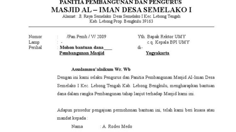 Contoh Surat Permohonan Bantuan Pembangunan Masjid Contoh Seputar Surat