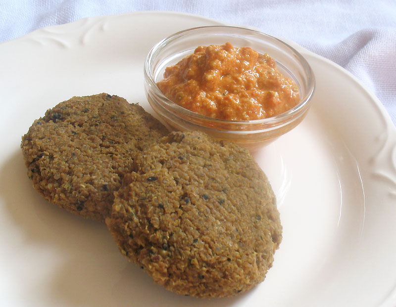 Quinoa Chickpea Flour Falafel with Mung Beans and Roasted Red Pepper ...