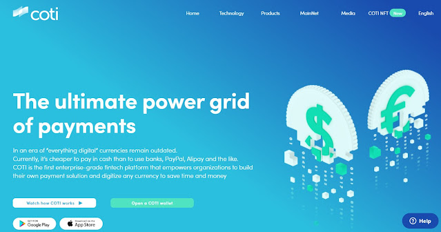 Screenshot Website Coti (COTI) Cryptocurrency
