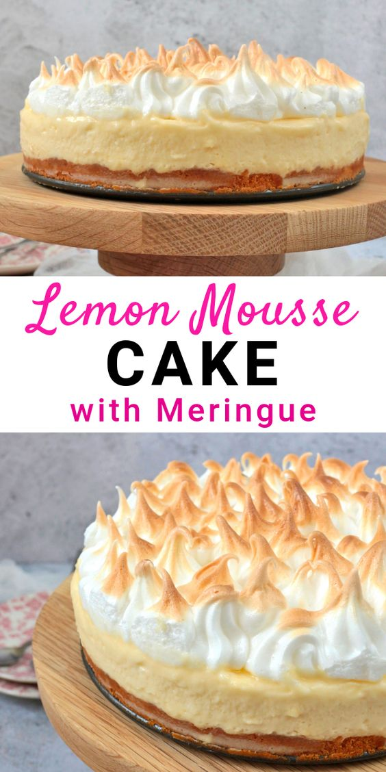 Lemon Mousse Cake with Toasted Meringue