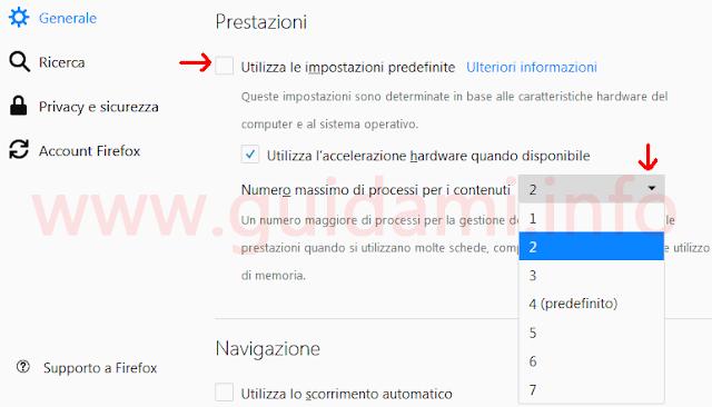 Opzioni Firefox per cambiare numero massimo di processi
