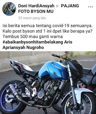 Yamaha Byson Street Fighter Dimodif Pakai Stang Jepit dan Pakai Headlamp Honda Sonic 150R