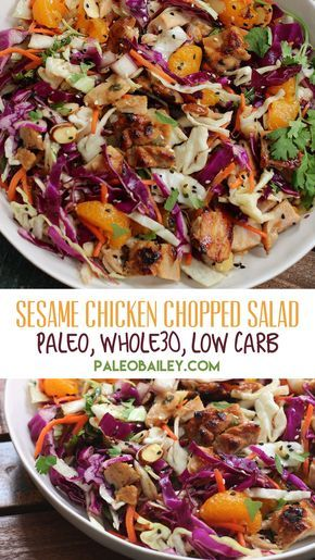Healthy Sesame Chicken Chopped Salad Paleo & Whole30 #lunch #dinner #healthy #sesame #chicken #chopped #salad #paleo #whole30