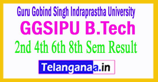 GGSIPU B.Tech 2nd 4th 6th 8th Sem Result 2018
