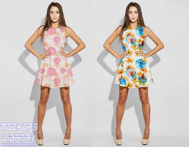 woman model dress mockup