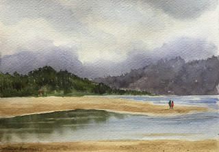 Water colour painting of Mobor beach, South Goa, by Manju Panchal
