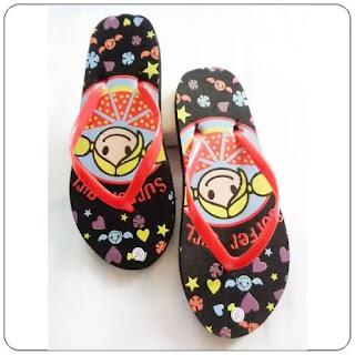 Sandal Jepit Sablon Timbul Cewe