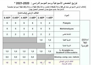 توزيع الحصص الأسبوعية برسم الموسم الدراسي 2020 -2021