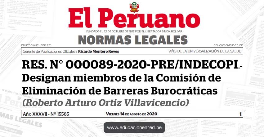 RES. N° 000089-2020-PRE/INDECOPI.- Designan miembros de la Comisión de Eliminación de Barreras Burocráticas (Roberto Arturo Ortiz Villavicencio)