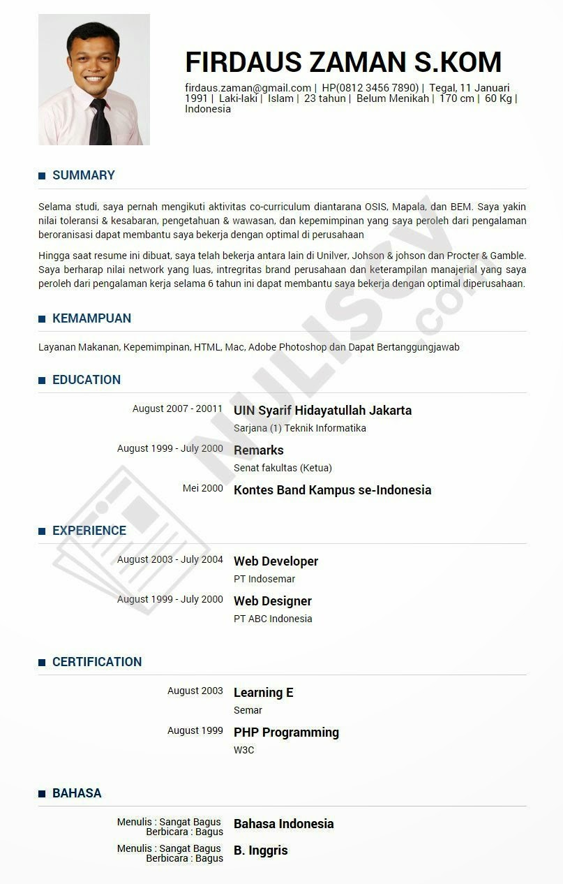resume contoh curriculum vitae cv samples format baru untuk resume ...