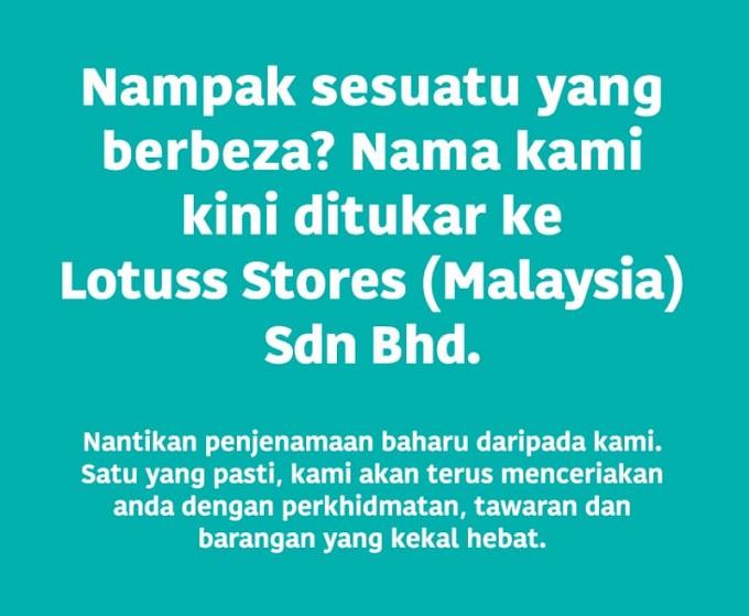 Tesco dah rebrand ke Lotuss Store