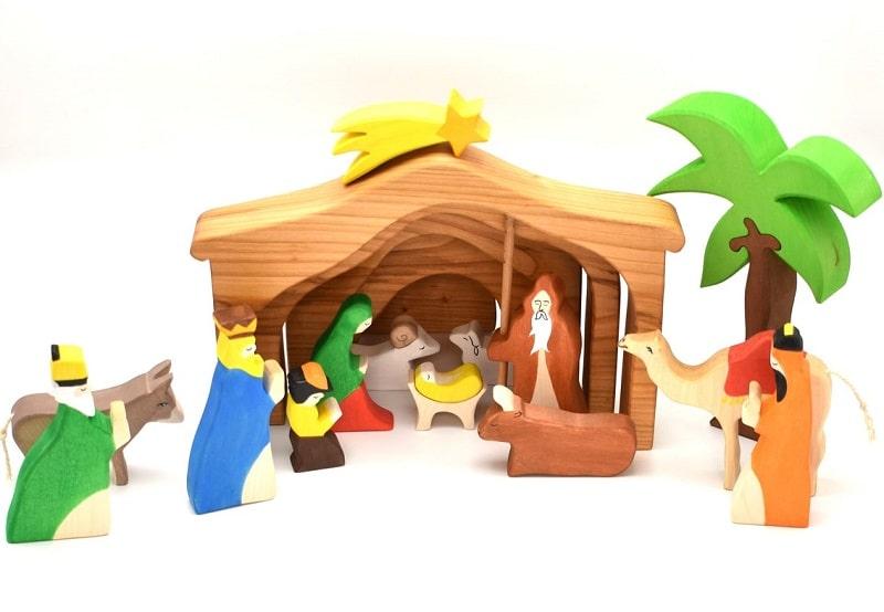 vulps wooden nativity set