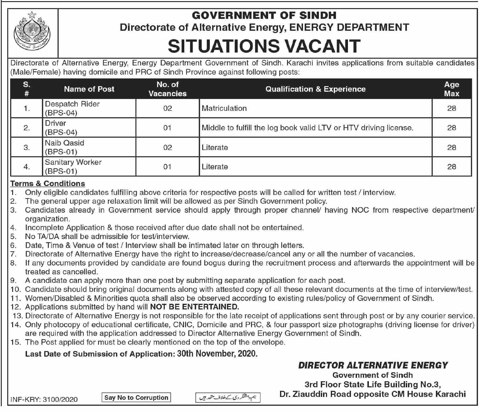 Energy Department Nov 2020 Jobs Advertisement in Pakistan 2020