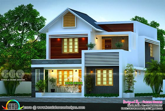 163 Sq-m Beautiful Mixed Roof 4 BHK Kerala Home