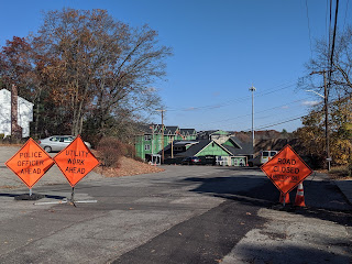 road work underway on Dean Ave in Nov 2019