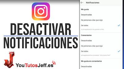 como desactivar notificaciones de instagram