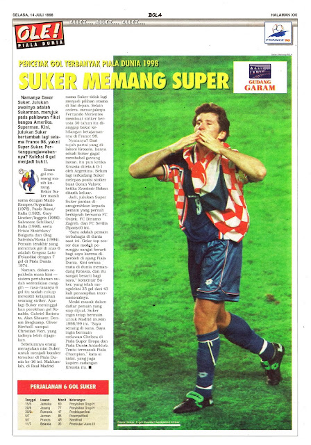 DAVOR SUKER WORLD CUP 1998 TOP SCORER