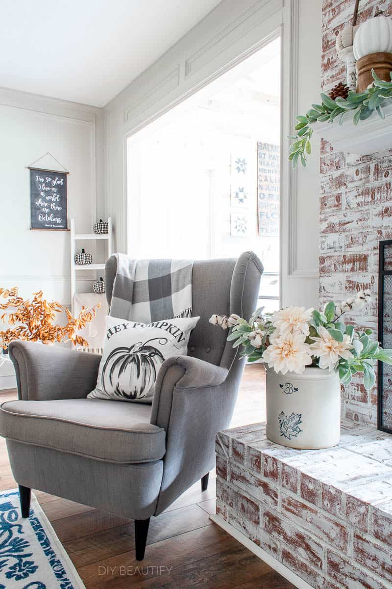cozy chair and fall decor
