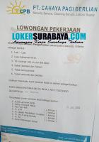 Karir Surabaya di PT. Cahaya Pagi Berlian Januari 2020