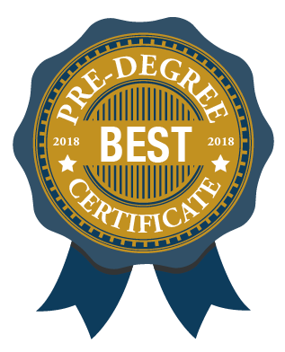 Ribbon/Seal from ParalegalEDU.  Text: BEST Pre-Degree Certificate 2018