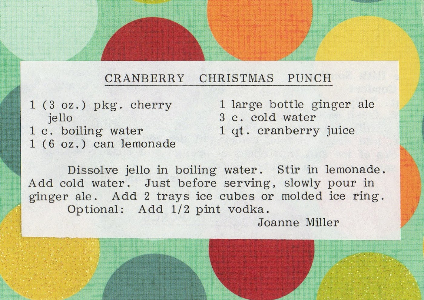 Cranberry Christmas Punch (quick recipe)