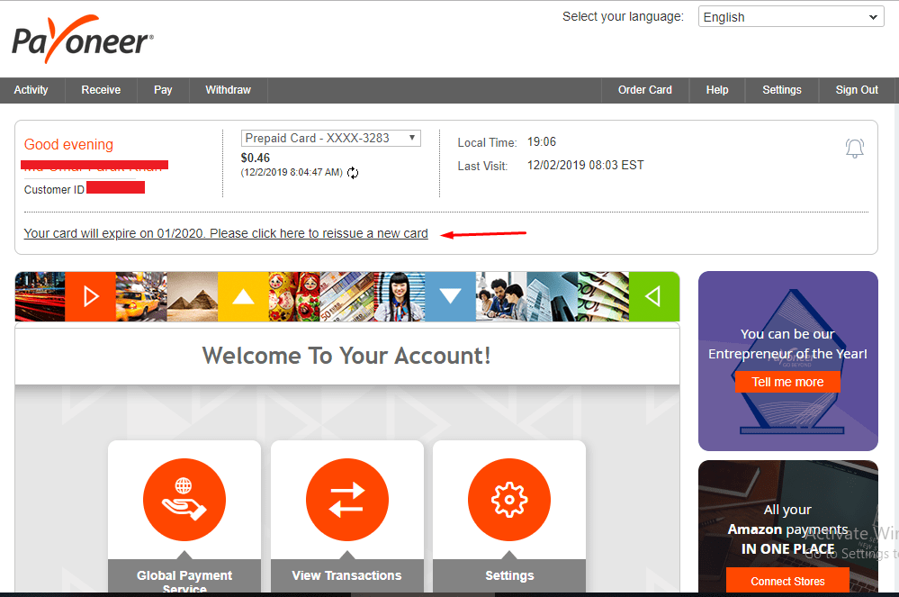 Re apply Payoneer Card