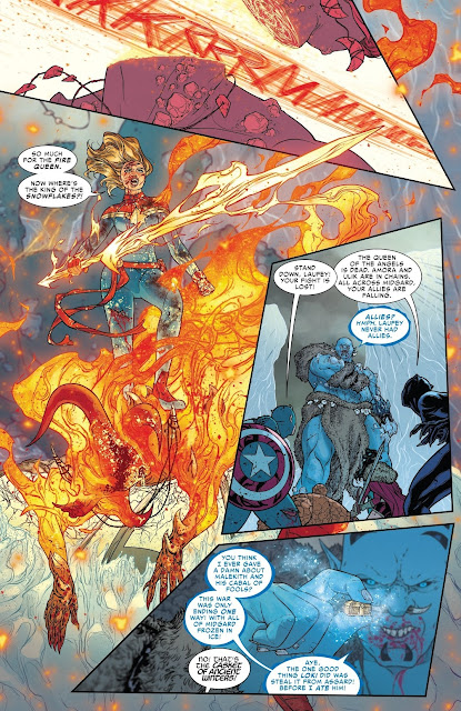 Captain Marvel kills Sindr the queen of Muspelheim and takes her sword.