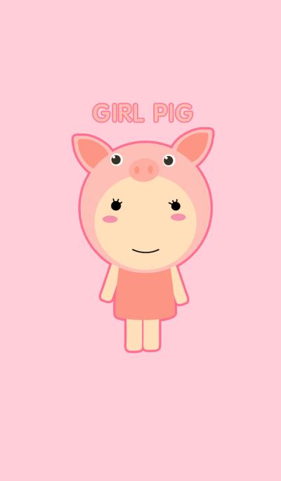 Simple Cute Girl Pig Theme