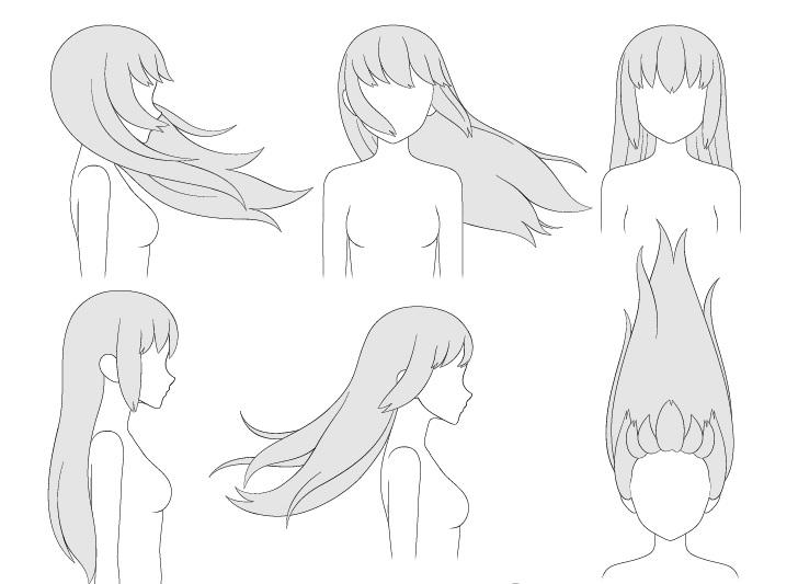 Rambut anime bertiup ke arah gambar yang berbeda