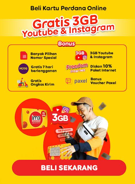 #Indosat - #Promo Beli Kartu Perdana Online Gratis 4GB Youtube & Instargtam