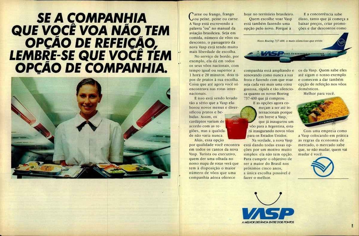 Anúncio antigo da VASP promovendo as opções de refeição durante o voo em 1991