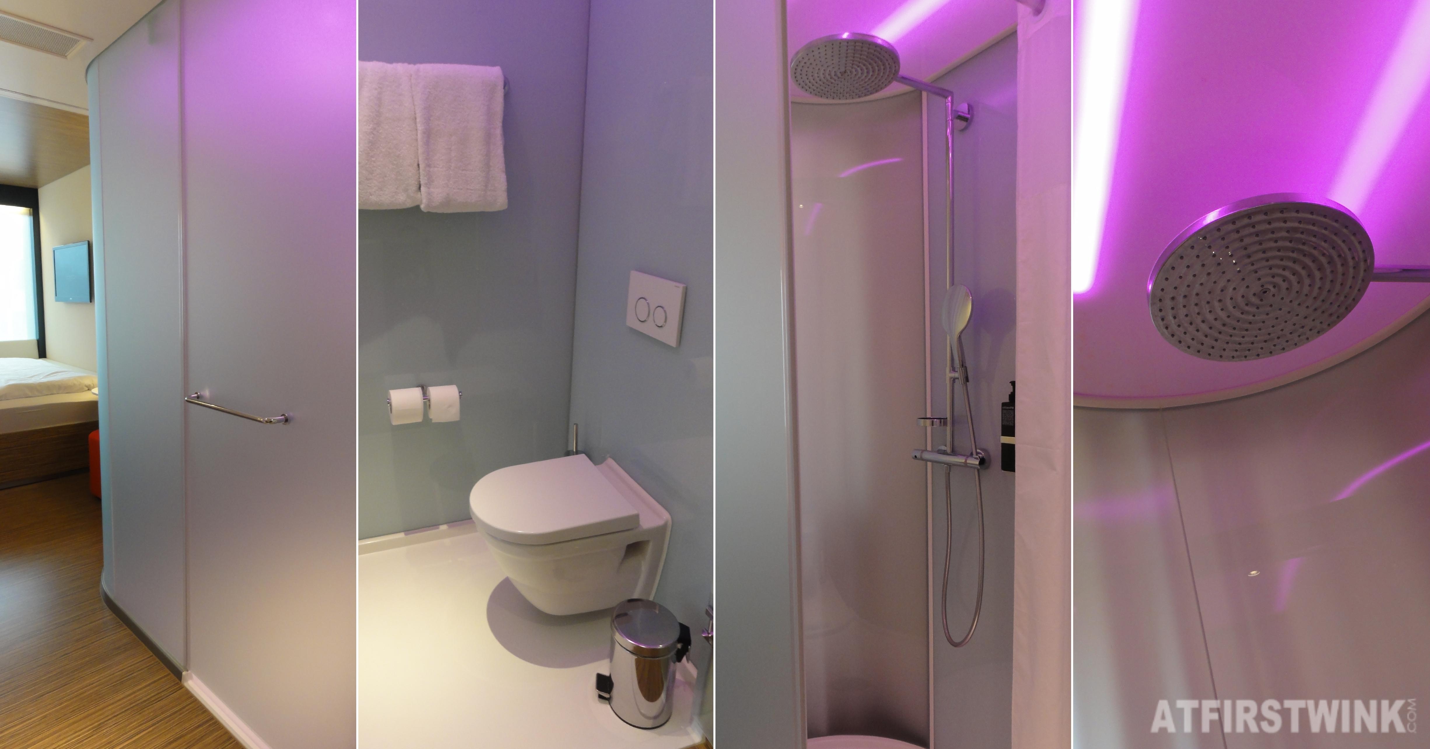 citizenM hotel in Rotterdam rain shower toilet neon mood lights