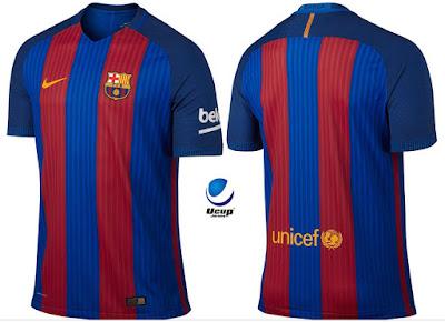 Jersey Barcelona Home 2016-2017 tampak depan dan belakang
