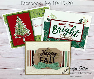 Three cards with Stampin' Up! merchandise from my weekly Facebook Live (10-15-20).  #StampinUp #StampTherapist