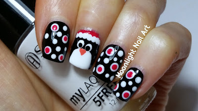 Easy Christmas Penguin Nail Art