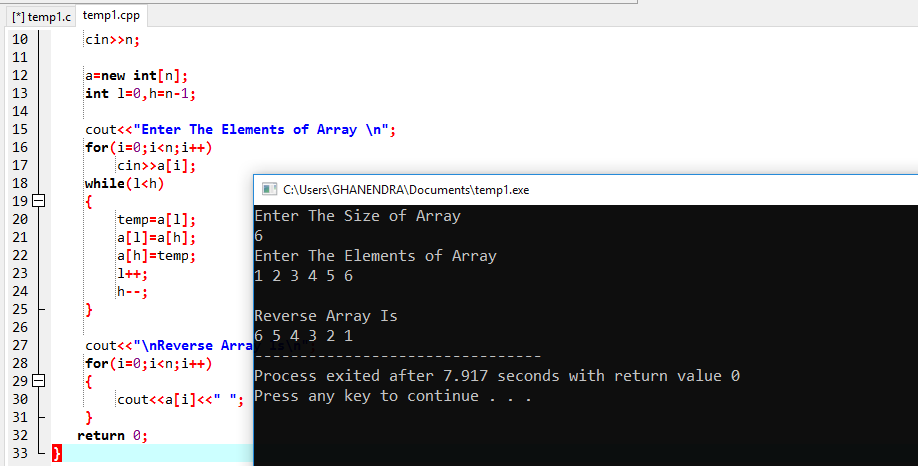 C++ Program To Reverse An Array In O(n) Complexity