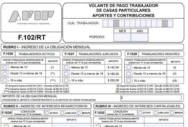 servicio dom stico nuevo formulario 102 rt editable afip On nuevo formulario empleada domestica 2016