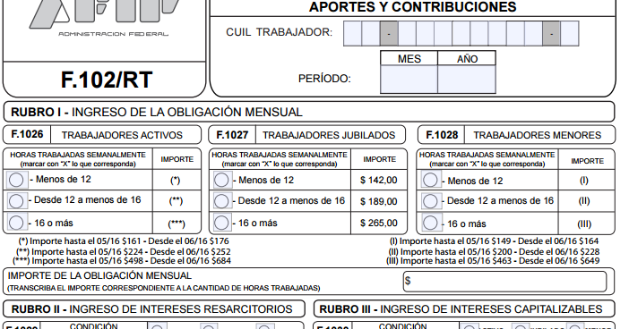 Servicio Doméstico: nuevo Formulario 102/RT editable AFIP