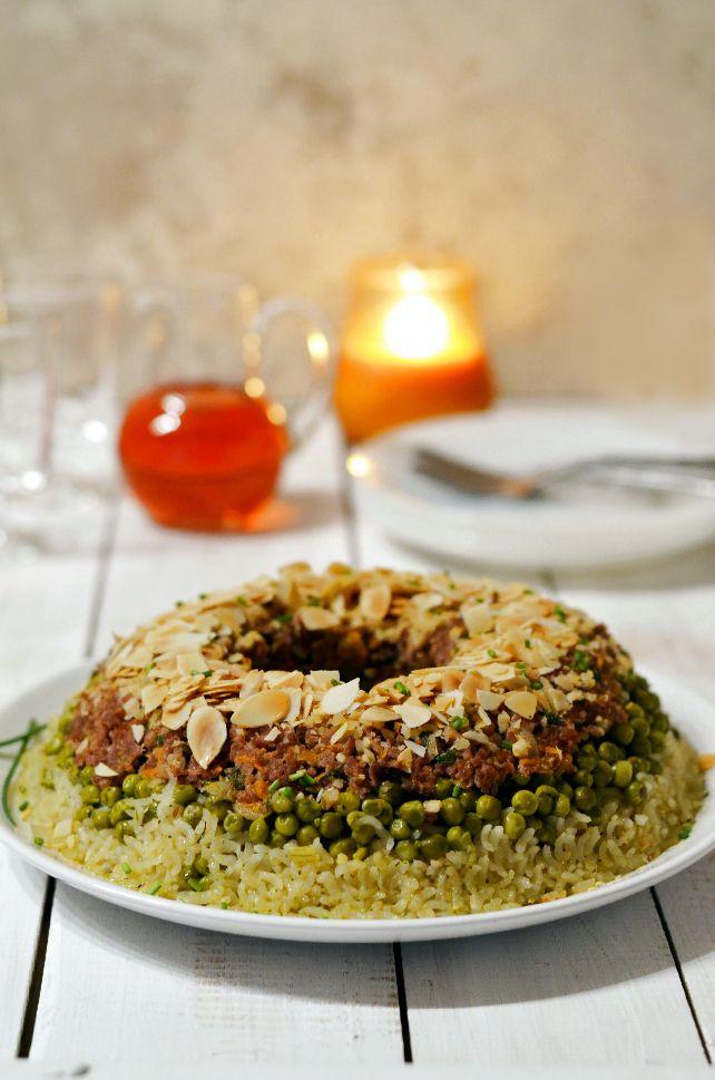 Солена торта с ориз телешка кайма и грах