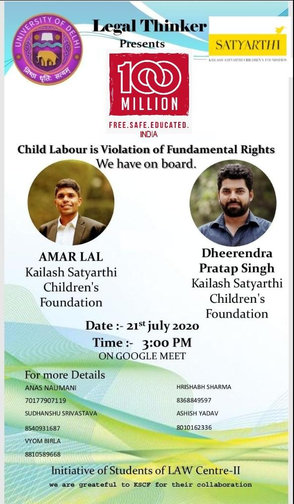 Webinar on CHILD LABOUR IS VIOLATION OF FUNDAMENTAL RIGHT @ Legal Thinker
