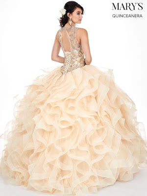 Mary's High Neckline Ball Gown Champagne Color dress back side